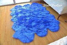 5' x 6' Royal Blue Sheepskin Nursery  Area Rug Plush Baby Boy Girl Room