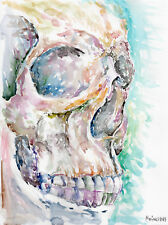 HUMAN SKULL - Original Watercolor Painting - punk metal gothic gift home decor