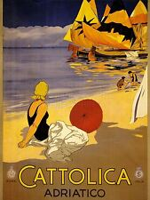 PRINT POSTER ADVERT TRAVEL TOURISM CATTOLICA ITALY SUN SEA BEACH SAND NOFL0521