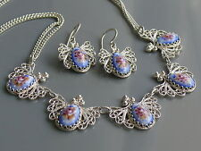 Sterling Silver Necklace and Earrings FINIFT & FILIGREE hot enamel Russia Rostov