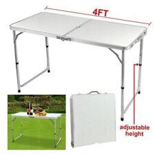 4ft Camping Table Adjustable Aluminium Folding Portable Party BBQ Parasol Hole