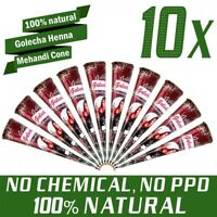 10x Golecha 100% Natural Henna Paste Cones Kegel (Rot-Braun) No Mix, No PPD 250g
