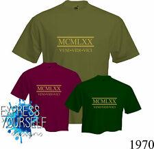 ROMAN NUMERALS 1970- T Shirt, 50th BIRTHDAY (2020), Fun, Present, Gift, NEW