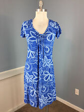 FRESH PRODUCE S Blue Knit Empire waist stretch floral Casual Sundress Dress EUC