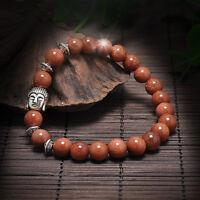 Lava Rock Bracelet Women Men Handmade Natural Gemstone Beads Buddha Head Beaded