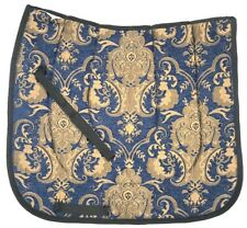 """SWALLOW TAIL  /""""BROWN WITH BLUE/""""  CHENILLE  BAROQUE DRESSAGE SADDLE PAD"""