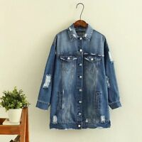 Women's Oversized Blue Denim Coat Distressed Ripped Long Jacket Casual Outwear