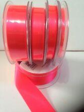 Berisfords Flourescent Double Satin Ribbon 4 Colours 5 Widths 3 Lengths Flo Pink #6845 15mm X 2mtrs