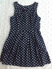 Ladies Izabel London Polka Dot Spot Dress  Size 14 Navy Blue White Spotted