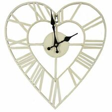 Hometime White Heart Shaped 36cm Metal Vintage Style Wall Clock