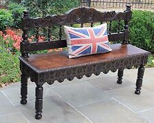 Antique English Carved Oak Renaissance Revival Entry Hall Bench Settee Banquette