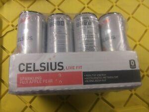 CELSIUS Sparkling Fuji Apple Pear Fitness Drink, Zero Sugar, 12oz. (Pack of 12)