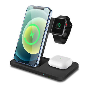 3in1 Qi Wireless Charger Dock Stand For iWatch SE/6/5/4/3/2 iPhone 12 Pro 11 XS