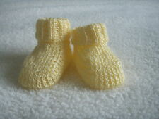 NEW Made in UK Handmade Small/Early Baby Reborn Socks/Bootees Yellow UNISEX