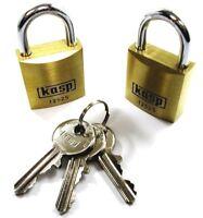 KASP PREMIUM SOLID BRASS PADLOCK Tiny Brass 15mm Luggage//Holdall//Travel Lock