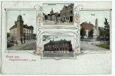 alte Ak 1907, Borgholzhausen, Litho Schule Post Freistrasse Kirche Denkmal