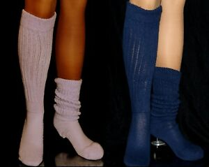 2 Flawed Slouch Socks Lilac Navy Long Sexy Warm Comfy Scrunchie Soccer