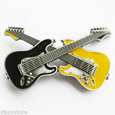 Black/Yellow Crossed Guitars Country Rock & Roll Music Metal Fashion Belt Buckle
