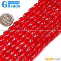 """Red Pink Coral Gemstone Teardrop Beads For Jewelry Making Free Shipping 15"""""""