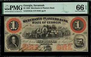 1859 $1 Obsolete - Savannah, Georgia - Merchants & Planters Bank - PMG 66 EPQ