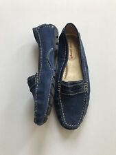 Marc Joseph NY Blue Suede Driving Moccasins Loafer 6.5 M Union St Comfort Sq Toe