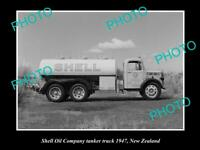 OLD 8x6 HISTORIC PHOTO OF SHELL OIL COMPANY FUEL TANKER c1947 NEW ZEALAND