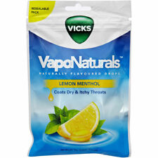 * VICKS VAPONATURALS LEMON MENTHOL DROPS 90G FOR DRY & ITCHY THROAT RESEALABLE