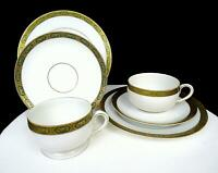 "KOENIGSZELT SILESIA GERMANY #1337 2 GREEN & GOLD 2"" CUP & SAUCER TRIOS 1922-1930"