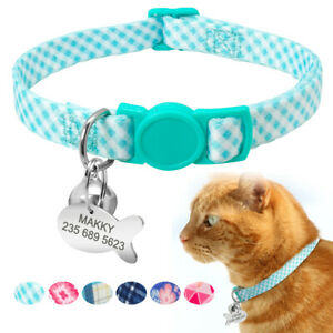 Custom Safety Cat Collar Personalised Kitten Puppy Collars with Bell Name Tags