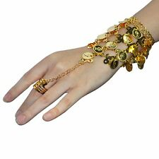 Belly Dance Gold Coins Triangle Wrist Bracelet Link Ring Bangle Gypsy Jewelry