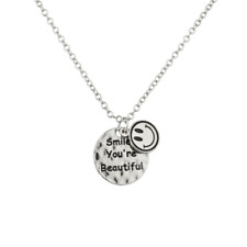 Lux Accessories Smile You're Beautiful Happy Face Pendant Chain Charm Necklace.