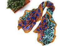 Long Chiffon Scarf Blue and Gold Theme Leopard Print CHL111