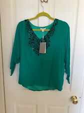 Monsoon Green Top with beading, size 10, BNWT
