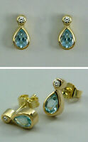 Ohrstecker, Ohrschmuck, Ohrringe, Blau-Topas, Diamant  in Gold 585/ooo