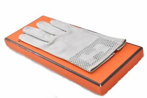 Authentic HERMES Glove Leather Gray Box A7397