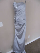 MERLE Strapless Formal Prom Long Silver Blue Dress Size 2 Train Lace Up Back