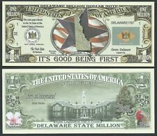 Delaware State Million Dollar Bill w Map, Seal, Flag, Capitol - Lot of 10 Bills