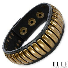 ELLE Stylish Bracelet in Yellow Base metal and Black Leather