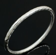 Silpada B1482 Sterling Silver 5mm Slim Hammered Round Bangle Bracelet FZ