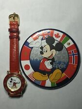 Mickey Mouse Disney Lorus Watch With Real Red Leather Band. Free Epcot Button