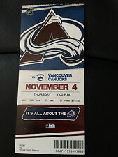 2010 Colorado Avalanche vs Vancouver Canucks Season Ticket Stub - Nov 4