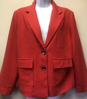 New CHICO'S Size 2 Women's M Red 2 Button Blazer Jacket Lined Pockets Stretch