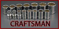 CRAFTSMAN HAND TOOLS 15pc LOT 1/2 Dr SAE 12pt ratchet wrench socket set