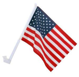 "U.S. Car Window Flags -LARGE SIZE- 18""x12"" American Flag w 20"" Pole FREE S/H USA"
