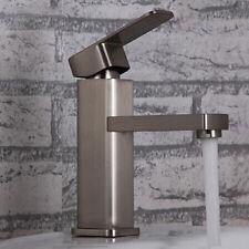 Brushed Nickel Stainless Steel Basin Mixer Tap Monobloc Bathroom Sink Faucet