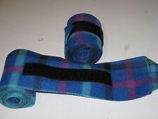 New set of 2 blue/black/raspberry/gree n plaid polo wraps (horse/pony leg wraps)