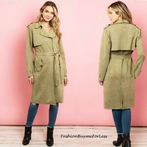 Kensington Suede Faux Leather Ponte Outerwear Overcoat Long Jacket Trench Coat