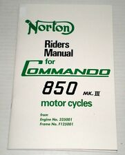 1975-77 Norton Commando 850 Mark III, OEM, Owners Riders Manual, Brown Wrap