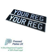 Black & Silver Classic Pressed Number Plates Plate Car Reg Metal Aluminium DVLA