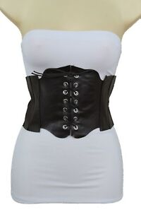 New Women Dark Brown Faux Leather Wide Fashion Corset Belt High Waist Hot M L XL